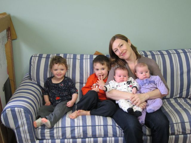 E with Henry Twins and Rose on couch