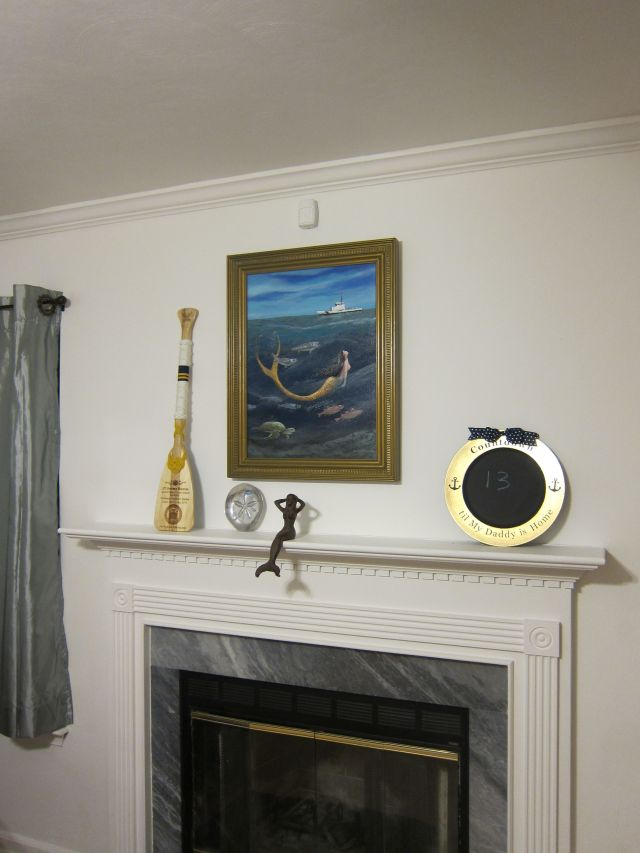 Our living room mantle, adorned by another de Castellane original masterpiece.